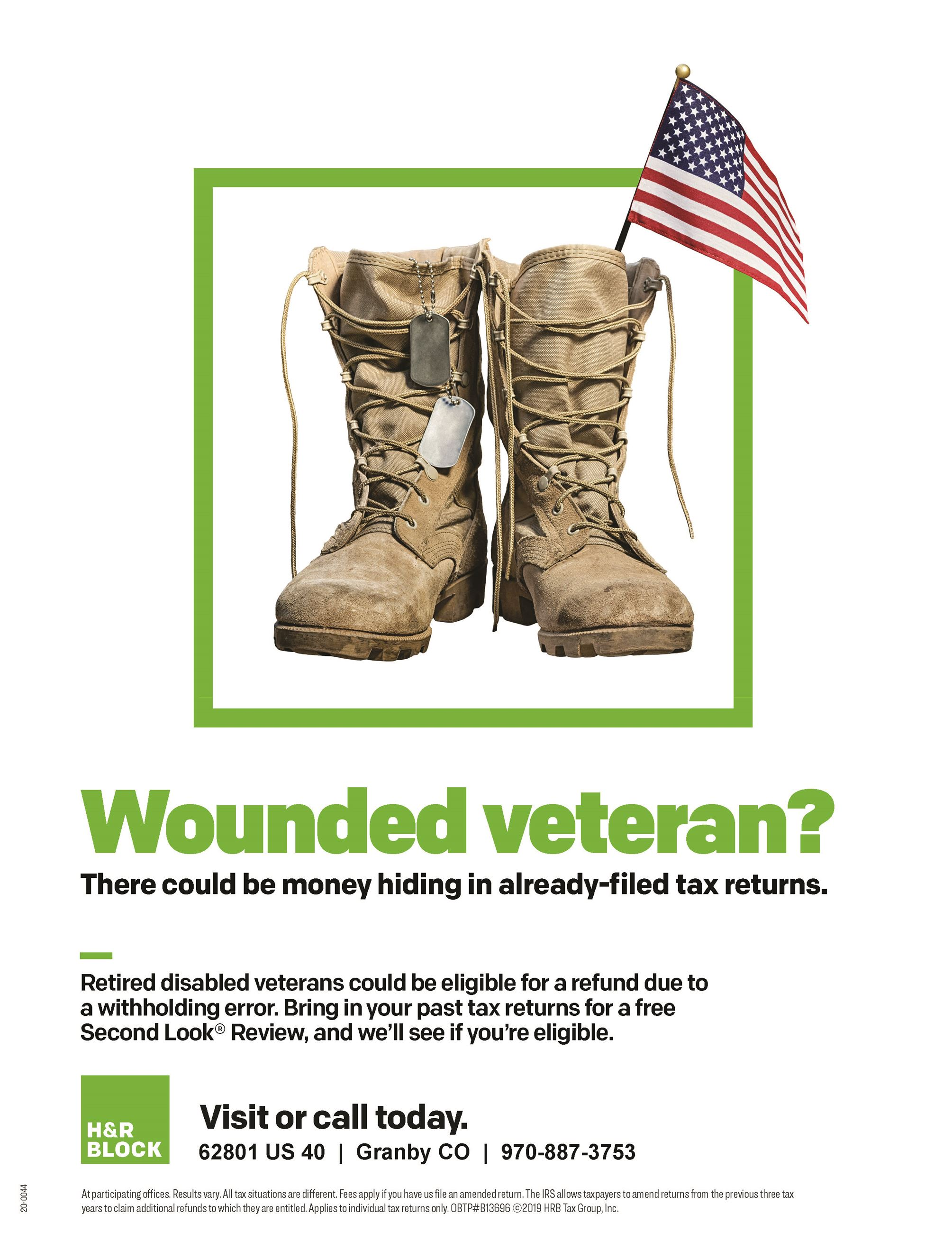 Wounded Veteran? There could be money hiding in already-filed tax returns. Visit or Call today. H&R